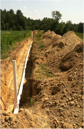 Trench and pipe for the tile drainage